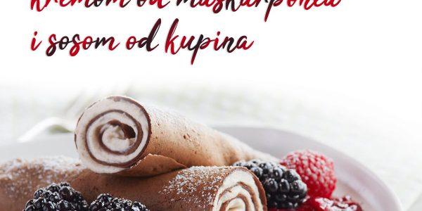Čokoladne palačinke sa kremom i sosom od kupina