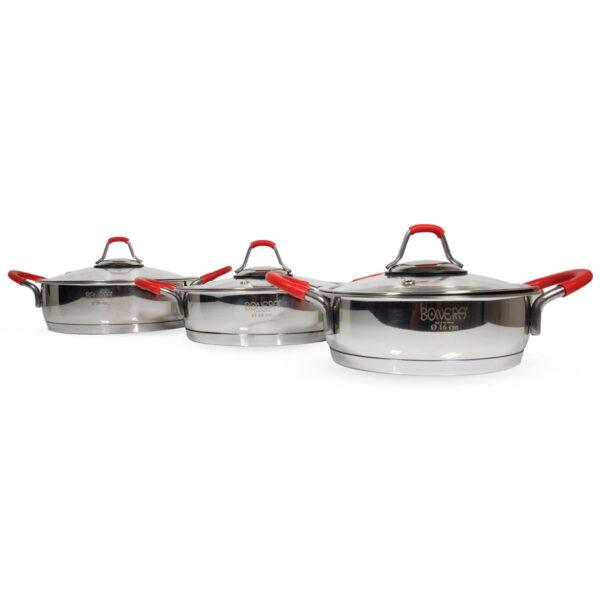 Bonera OMEGA set od tri plitke šerpe za omlet od nerđajućeg čelika - BON 250