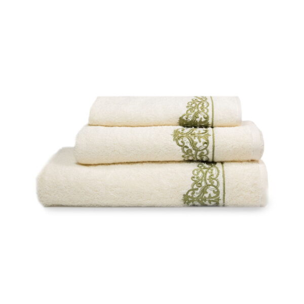 Set luksuznih peškira za lice, ruke i telo gustine 500 g/m² sa vezenim elementima - 3/1